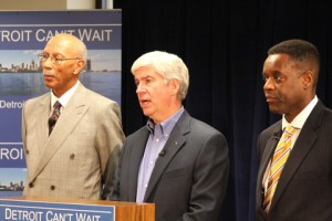 Detroit Mayor Dave Bing, Michigan Governor Rick Snyder with Kevy