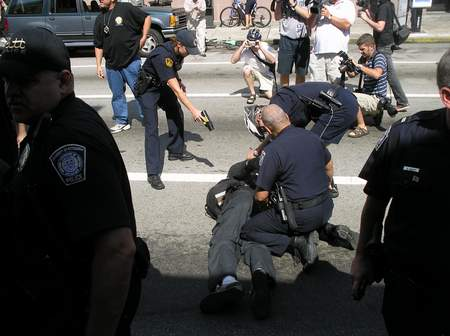 Pittsburgh police used tasers on protestors at a counter-recruting protest.